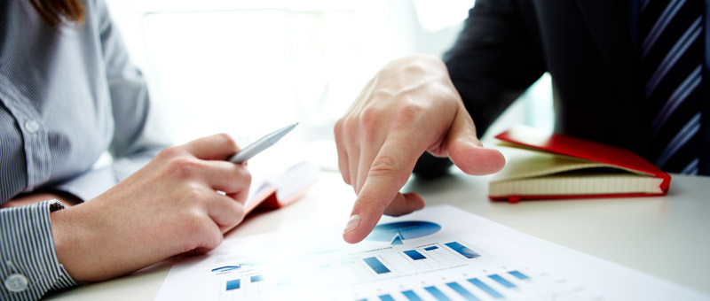 Accountant pointing at business document during discussion at meeting