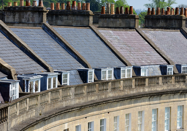 Georgian crescent houses in Bath